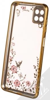 1Mcz Diamond Flower Skinny TPU ochranný kryt pro Samsung Galaxy A12 zlatá (gold) zepředu