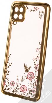 1Mcz Diamond Flower Skinny TPU ochranný kryt pro Samsung Galaxy A12, Galaxy M12 zlatá (gold)