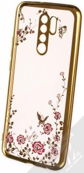 1Mcz Diamond Flower TPU ochranný kryt pro Xiaomi Redmi 9 zlatá (gold)