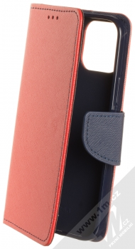 1Mcz Fancy Book flipové pouzdro pro Apple iPhone 12, iPhone 12 Pro červená modrá (red blue)