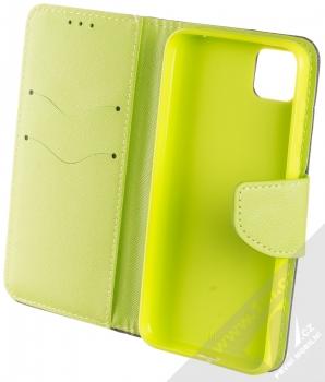 1Mcz Fancy Book flipové pouzdro pro Huawei Y5p, Honor 9S modrá limetkově zelená (blue lime) otevřené