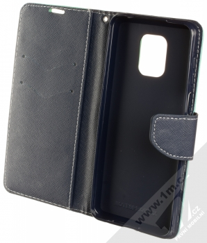 1Mcz Fancy Book flipové pouzdro pro Xiaomi Redmi Note 9 Pro, Redmi Note 9 Pro Max, Redmi Note 9S mátově zelená modrá (mint blue) otevřené