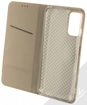 1Mcz Magnet Book flipové pouzdro pro Xiaomi Redmi Note 10 5G, Poco M3 Pro zlatá (gold) otevřené