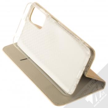 1Mcz Magnet Book flipové pouzdro pro Xiaomi Redmi Note 10 5G, Poco M3 Pro zlatá (gold) stojánek