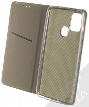 1Mcz Magnet Book flipové pouzdro pro Samsung Galaxy A21s mátově zelená (mint green) otevřené