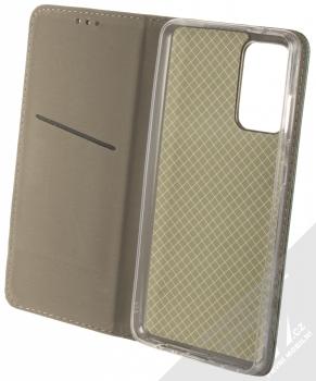 1Mcz Magnetic Book flipové pouzdro pro Samsung Galaxy A72, Galaxy A72 5G tmavě zelená (dark green) otevřené
