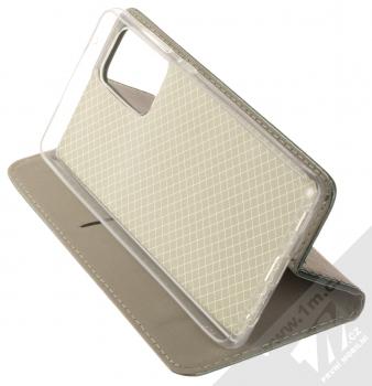 1Mcz Magnetic Book flipové pouzdro pro Samsung Galaxy A72, Galaxy A72 5G tmavě zelená (dark green) stojánek