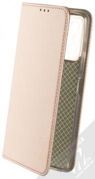 1Mcz Magnetic Book flipové pouzdro pro Xiaomi Redmi Note 10 Pro, Redmi Note 10 Pro Max růžově zlatá (rose gold)