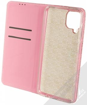 1Mcz Shining Book třpytivé flipové pouzdro pro Samsung Galaxy A12 růžově zlatá (rose gold) otevřené