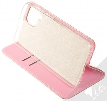 1Mcz Shining Book třpytivé flipové pouzdro pro Samsung Galaxy A12 růžově zlatá (rose gold) stojánek