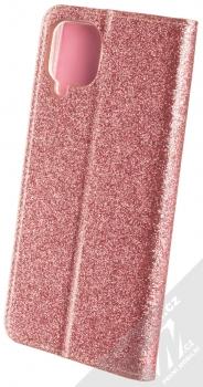 1Mcz Shining Book třpytivé flipové pouzdro pro Samsung Galaxy A12 růžově zlatá (rose gold) zezadu