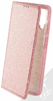 1Mcz Shining Book třpytivé flipové pouzdro pro Samsung Galaxy A12 růžově zlatá (rose gold)