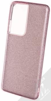 1Mcz Shining TPU třpytivý ochranný kryt pro Samsung Galaxy S21 Ultra růžová (pink)
