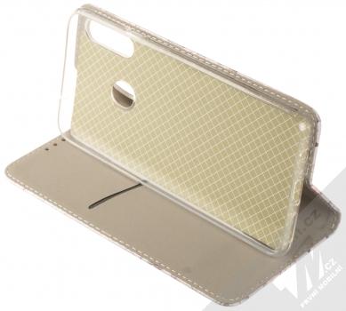 1Mcz Trendy Book Keřík růží 2 flipové pouzdro pro Samsung Galaxy A20s světle šedá (light grey) stojánek