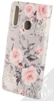 1Mcz Trendy Book Keřík růží 2 flipové pouzdro pro Samsung Galaxy A20s světle šedá (light grey) zezadu