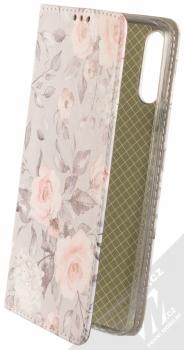1Mcz Trendy Book Keřík růží 2 flipové pouzdro pro Samsung Galaxy A20s světle šedá (light grey)