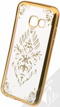 Beeyo Floral pokovený ochranný kryt pro Samsung Galaxy A3 (2017) zlatá průhledná (gold transparent)