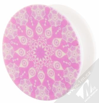 Blue Star Popstent samolepící držák a stojánek mobilního telefonu růžová (vzor mandala 2) napůl vytažené