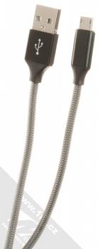 Blun Aluminum Bullet USB Car Charger nabíječka do auta s 2xUSB výstupem a 2xUSB kabely s konektory microUSB a USB Type-C modrá černá (blue black) USB kabel microUSB konektor