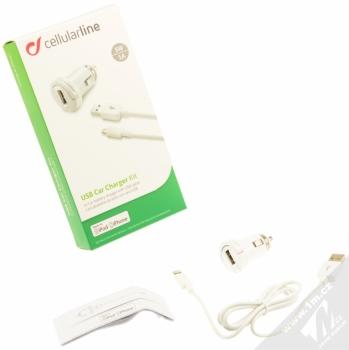 CellularLine USB Car Charger Kit 5W nabíječka do auta s USB výstupem 1A + USB kabel s Lightning konektorem pro Apple iPhone, iPod (licence MFi) bílá (white) balení