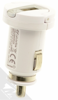 CellularLine USB Car Charger Kit 5W nabíječka do auta s USB výstupem 1A + USB kabel s Lightning konektorem pro Apple iPhone, iPod (licence MFi) bílá (white) nabíječka zezadu