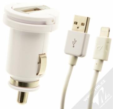 CellularLine USB Car Charger Kit 5W nabíječka do auta s USB výstupem 1A + USB kabel s Lightning konektorem pro Apple iPhone, iPod (licence MFi) bílá (white)