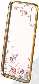 Forcell Diamond Flower TPU ochranný kryt pro Samsung Galaxy A50 zlatá (gold) zepředu