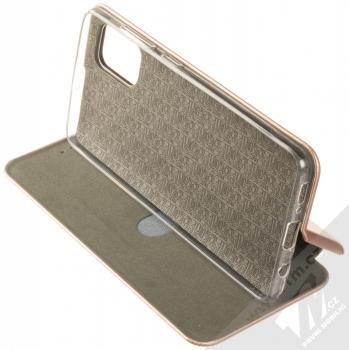 Forcell Elegance Book flipové pouzdro pro Samsung Galaxy A51 růžově zlatá (rose gold) stojánek