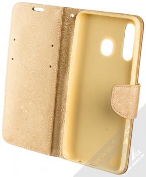 Forcell Fancy Book flipové pouzdro pro Samsung Galaxy A50 černá zlatá (black gold) otevřené