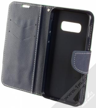 Forcell Fancy Book flipové pouzdro pro Samsung Galaxy S10e mátově zelená modrá (mint blue) otevřené