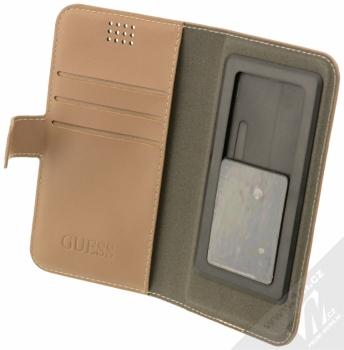 Guess 4G Universal Booktype M univerzální flipové pouzdro pro mobilní telefon, mobil, smartphone 4 až 4,5 (GUBKMT4GB) hnědá (brown) otevřené