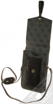 Guess 4G Wallet Universal univerzální pouzdro kabelka s kapsičkami (GUWBSQGBK) tmavě šedá (dark grey) otevřené