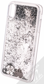 Guess Liquid Glitter Question of Heart ochranný kryt s přesýpacím efektem třpytek pro Apple iPhone XS Max (GUHCI65GLHFLSI) stříbrná (silver) animace 2