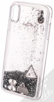 Guess Liquid Glitter Question of Heart ochranný kryt s přesýpacím efektem třpytek pro Apple iPhone XS Max (GUHCI65GLHFLSI) stříbrná (silver) animace 4