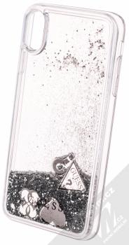 Guess Liquid Glitter Question of Heart ochranný kryt s přesýpacím efektem třpytek pro Apple iPhone XS Max (GUHCI65GLHFLSI) stříbrná (silver) animace 5