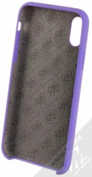 Guess Silicone Logo ochranný kryt pro Apple iPhone X, iPhone XS (GUHCPXLSGLUV) fialová (violet) zepředu