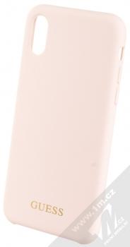 Guess Silicone Logo ochranný kryt pro Apple iPhone X, iPhone XS (GUHCPXLSGLLP) světle růžová (light pink)