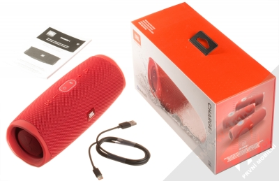 JBL CHARGE 4 voděodolný výkonný Bluetooth reproduktor a záložní zdroj červená (red) balení