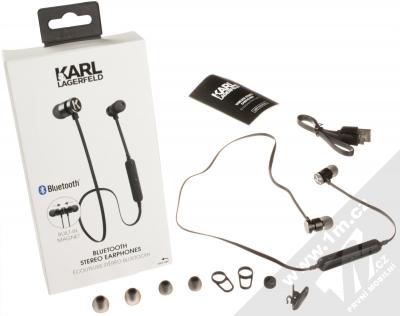 Karl Lagerfeld Bluetooth Stereo Earphones módní stereo headset s tlačítkem černá (black) balení