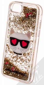 Karl Lagerfeld Choupette Hearts Eyes Red Hearts Liquid Glitter ochranný kryt s přesýpacím efektem třpytek pro Apple iPhone 6, iPhone 6S, iPhone 7, iPhone 8, iPhone SE (2020) (KLHCI8LCGLGO) zlatá červená (gold red) zezadu