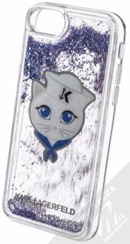 Karl Lagerfeld Sailor Choupette Liquid Glitter Case ochranný kryt s přesýpacím efektem třpytek pro Apple iPhone 6, iPhone 6S, iPhone 7, iPhone 8 (KLHCI8KSCH) tmavě modrá (navy blue) animace 1