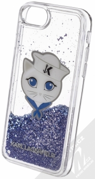 Karl Lagerfeld Sailor Choupette Liquid Glitter Case ochranný kryt s přesýpacím efektem třpytek pro Apple iPhone 6, iPhone 6S, iPhone 7, iPhone 8 (KLHCI8KSCH) tmavě modrá (navy blue) animace 5