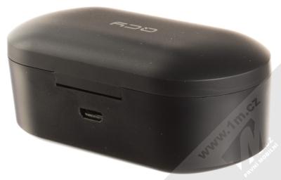 QCY T1S True Wireless Bluetooth stereo sluchátka černá (black) nabíjecí pouzdro zezadu
