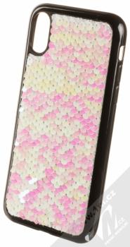 Sligo Magic TPU ochranný kryt s flitry pro Apple iPhone X, iPhone XS perleťová (pearl)