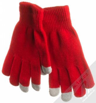 URan Touch Gloves Basic pletené rukavice pro kapacitní dotykový displej červená (red)