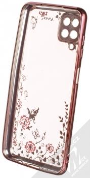 1Mcz Diamond Flower Skinny TPU ochranný kryt pro Samsung Galaxy A12 růžově zlatá (rose gold) zepředu