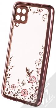 1Mcz Diamond Flower Skinny TPU ochranný kryt pro Samsung Galaxy A12 růžově zlatá (rose gold)