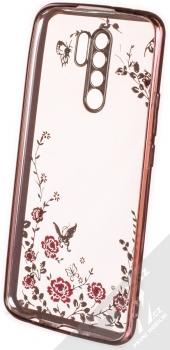 1Mcz Diamond Flower TPU ochranný kryt pro Xiaomi Redmi 9 růžově zlatá (rose gold) zepředu