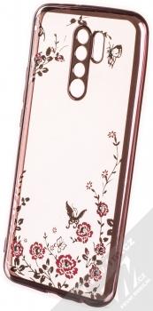 1Mcz Diamond Flower TPU ochranný kryt pro Xiaomi Redmi 9 růžově zlatá (rose gold)