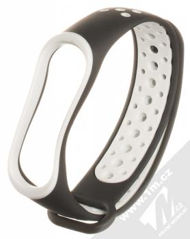1Mcz Double Color Strap silikonový pásek na zápěstí pro Xiaomi Mi Band 3, Mi Band 4 černá bílá (black white)